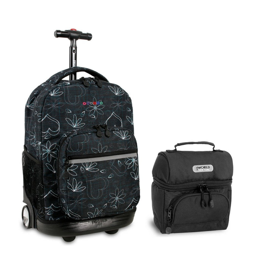 J World Combo Rolling Backpack & Lunch Bag Back to School Bundle Set Sunrise / Corey (Love Black and Black)