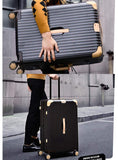 Suitcase, Aluminum Frame Trolley Case, Universal Wheel Luggage Code Suitcase High-Grade Aluminum Frame, Brown, 26 inche