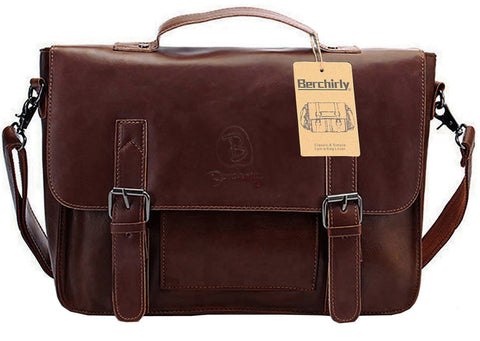 Men Briefcase Tote, Berchirly Vintage PU Leather Laptop Shoulder Messenger Bag for 14inch laptop