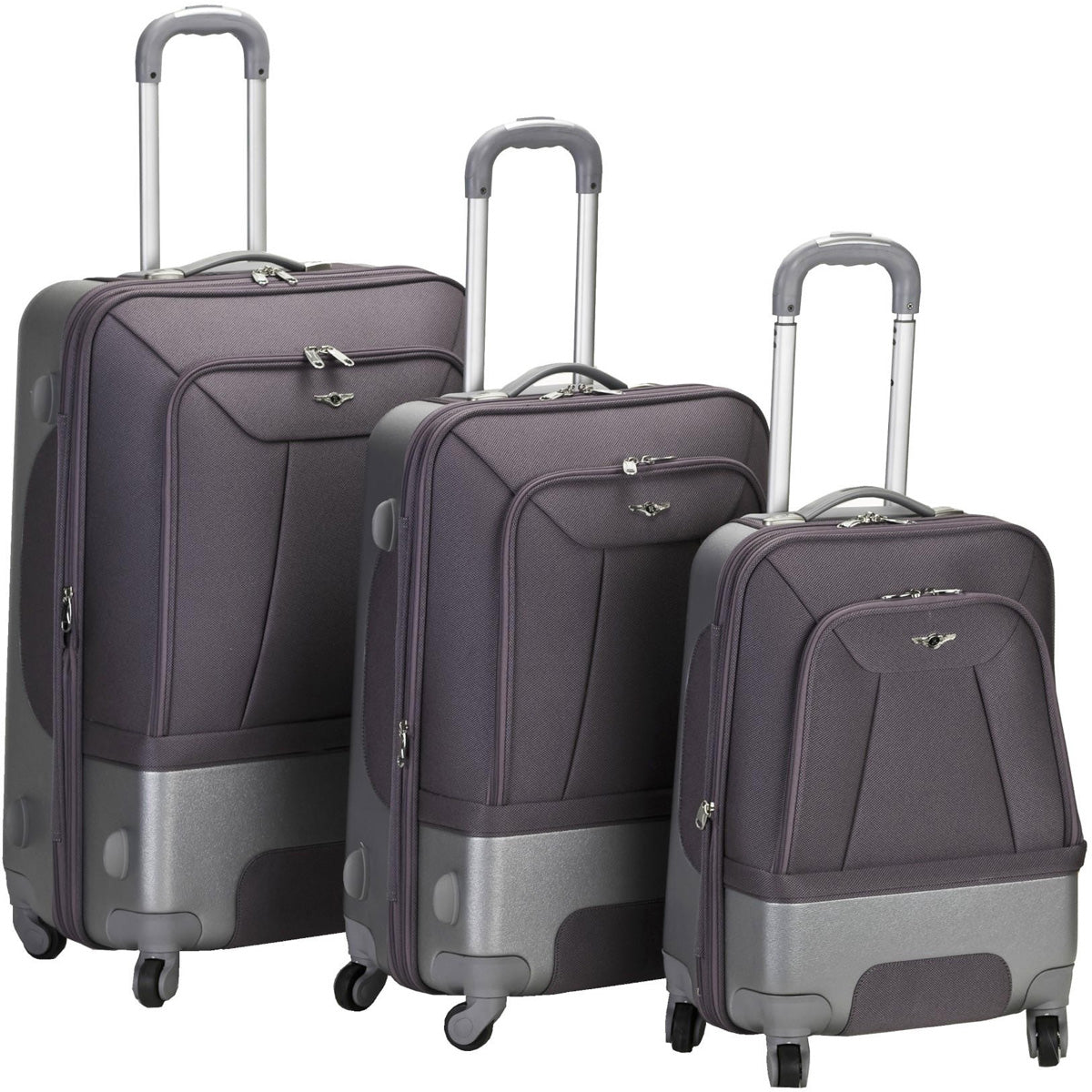 Rockland Luggage Rome Hybrid 3 Piece Spinner Luggage Set