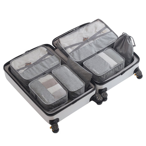 7Pcs/Set Packing Cubes Travel Luggage Organizer Waterproof Compression Large Shoes Suitcase Mesh