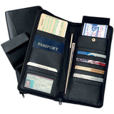 Royce Leather Executive Zippered Travel Document Passport Case Credit Card Wallet