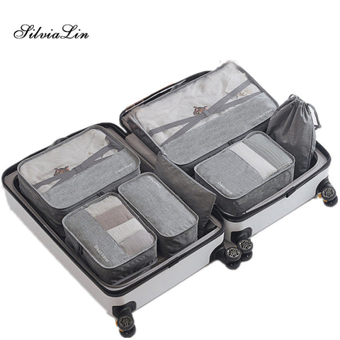 7pcs/Set Travel Organizer Cube Compression Pouches Waterproof Mesh Durable Luggage Organiser