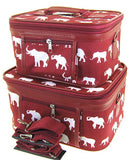 Elephant Print 2 Piece Train Case Cosmetic Set Travel Toiletry Luggage (Burgundy Red)