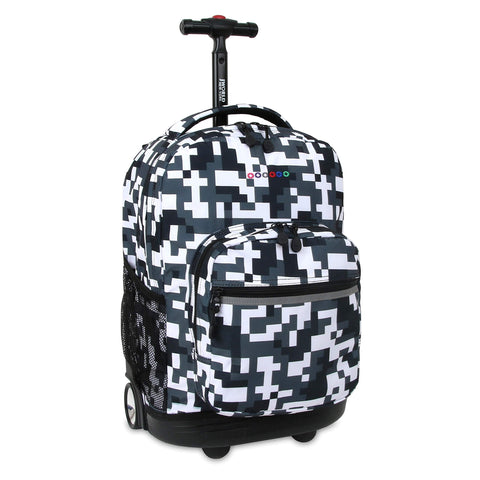 J World New York Sunrise 18-inch Rolling Backpack - Camo Black Designer Print Polyester