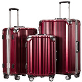 Coolife Luggage Aluminium Frame Suitcase 3 Piece Set with TSA Lock 100% PC