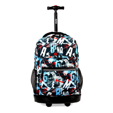 J World New York Sunrise 18-inch Rolling Backpack - Graffiti Black Designer Print Polyester