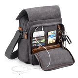 Plambag Canvas Messenger Bag Small Travel School Crossbody Bag Fit iPad Grey