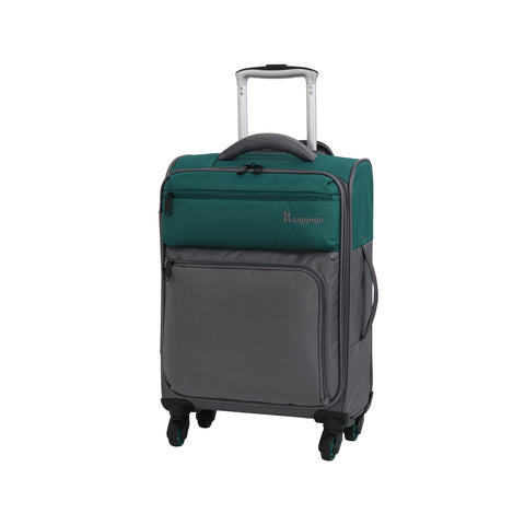 it luggage Duotone 4 Wheel Lightweight Cabin Suitcase, 53 cm, 34 L, Teal Green + Steel Grey
