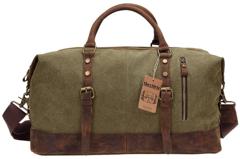 "Duffel Bag, Berchirly 21"" Large Canvas Leather Travel Sports Gym Bag Toiletry Bag Shoulder Carryon Luggage for Men Women - Army Green"