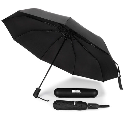 HERO Travel Umbrella - Windproof, Compact and Portable - Includes Ebook on How to Make the Most of Your Rainy Travels by Asher & Lyric
