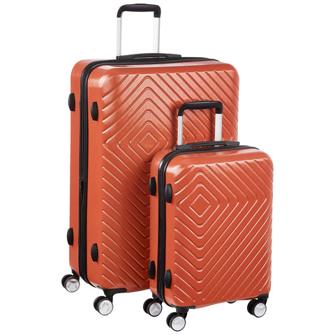 AmazonBasics Geometric Luggage - 2 piece Set (55cm, 78cm), Orange