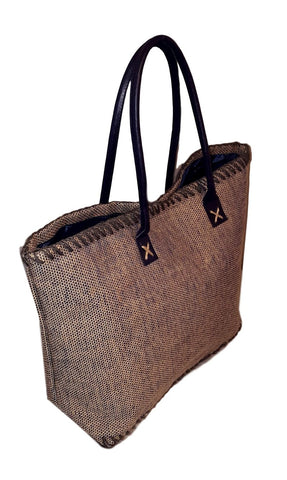 101 BEACH Large Jute Tote Bag - Custom Embroidery Available (Navy)
