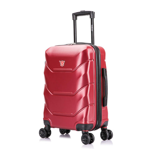DUKAP Luggage - Zonix Collection - Lightweight Hardside Spinner 20'' inch Carry-On - Wine/Red - Suitcases with Wheels