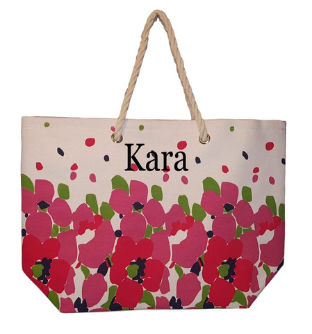 Floral Design Beach Bag by Karen Keith - Personalization Available (Embroidered Name - Pink)