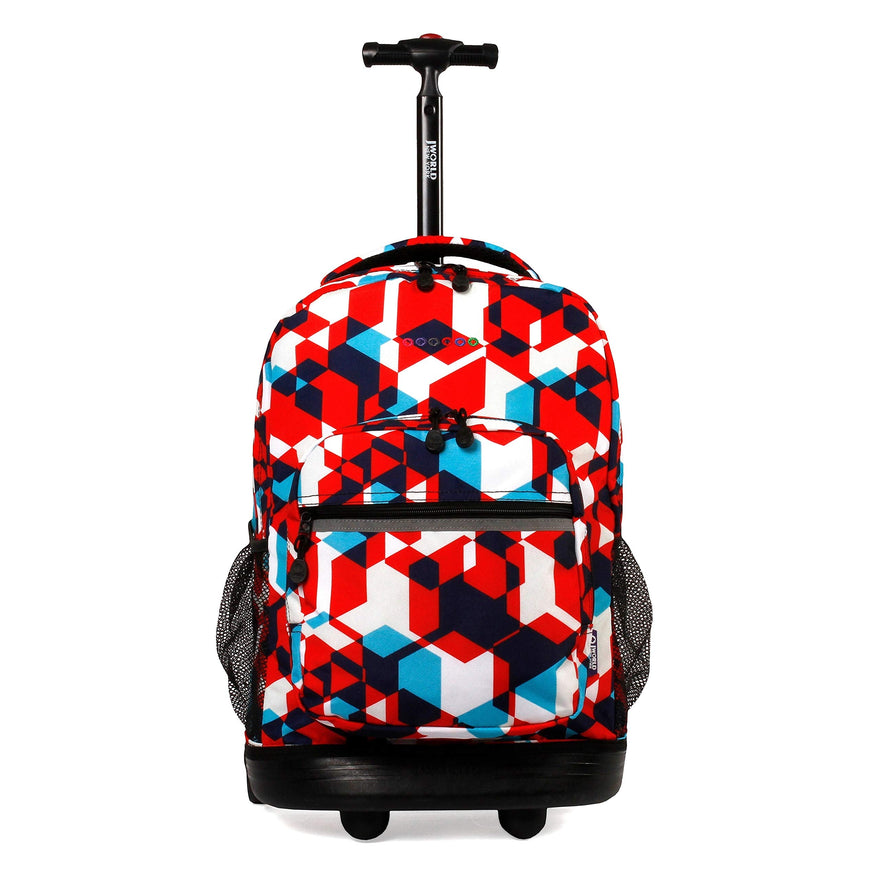 J World New York Sunrise 18-inch Rolling Backpack - Red Cubes Designer Print Polyester