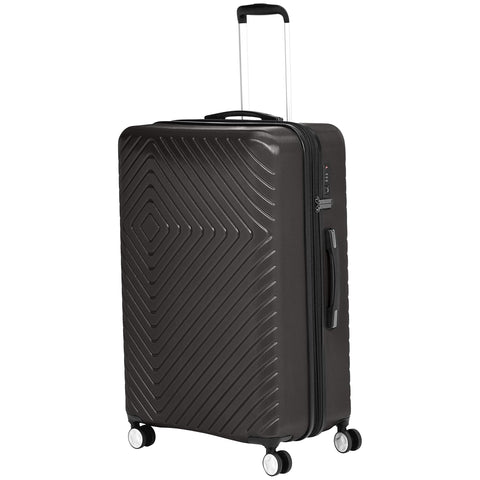 AmazonBasics Geometric Travel Luggage Expandable Suitcase Spinner with Wheels and Built-In TSA Lock, 31.5 Inch - Black