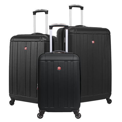 SWISSGEAR 6297 Expandable Hardside Spinner Luggage, 3-Piece Set - Black
