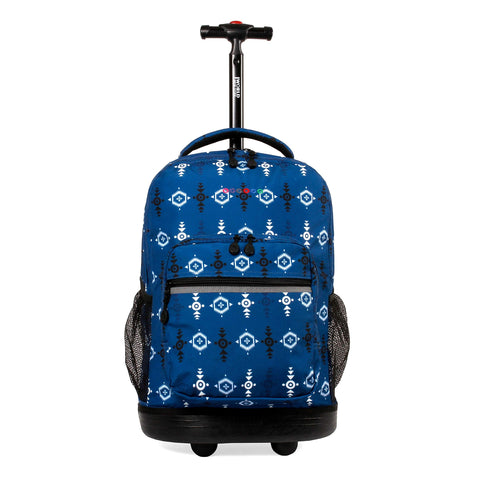 J World New York Sunrise 18-inch Rolling Backpack - Totem Blue Designer Print Polyester Adjustable Strap Lined Water Resistant