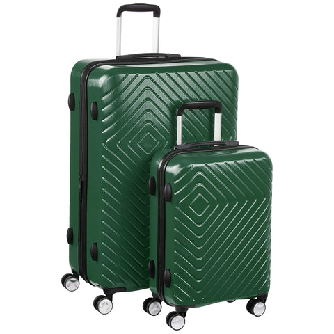AmazonBasics Geometric Luggage - 2 piece Set (55cm, 78cm), Green