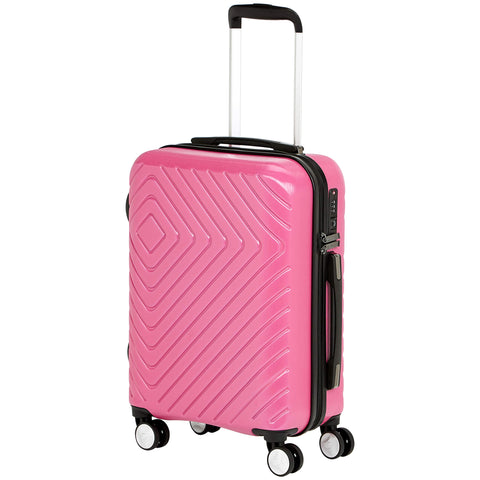 AmazonBasics Geometric Luggage 18-inch international carry-on, Pink