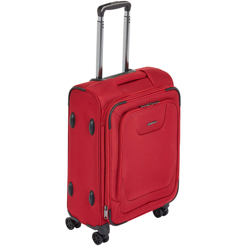 AmazonBasics Expandable Softside Carry-On Spinner Luggage Suitcase With TSA Lock And Wheels - 21 Inch, Red