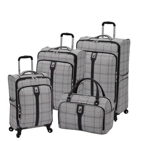London Fog Knightsbridge 4-Pc Set (Grey/Burgundy Glen Plaid)