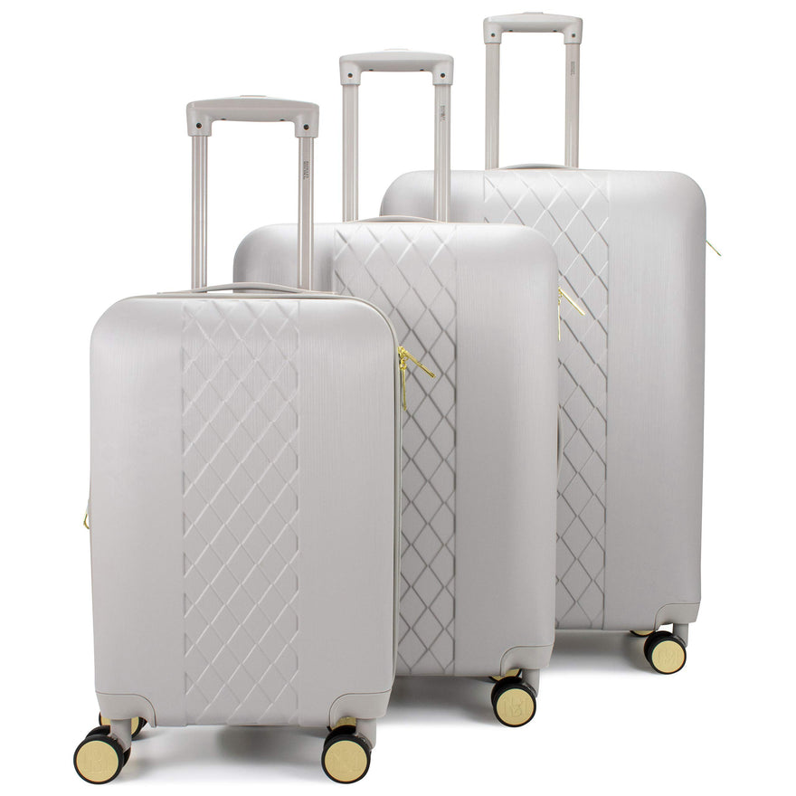 Badgley Mischka Diamond Hard Expandable Spinner Luggage Set (3 Piece) (Grey)