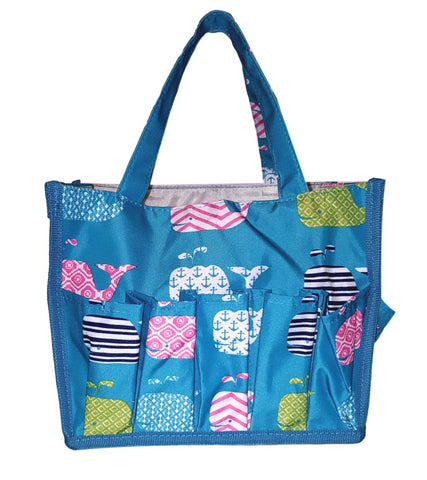 "Small Fashion Organizing Tote Bag - 12 Outside Pockets 10"" x 8"" x 8"" - Personalization Available (Turquoise Whale)"