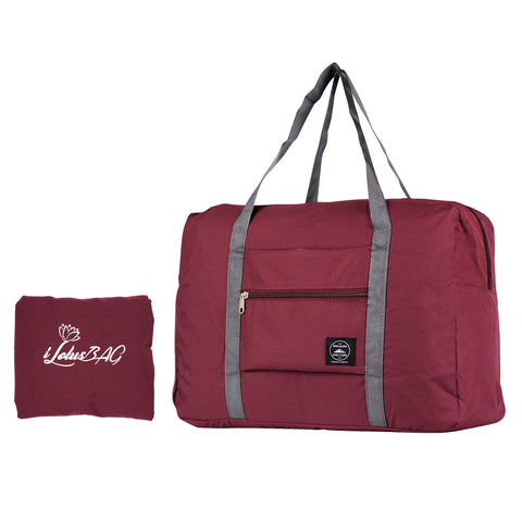 iLotusBAG Travel Foldable Duffel Bag for Women & Men,Lightweight Waterproof Carry-on Bag,Travel Luggage for Sports Gym,Travel Tote Luggage Bag(Wine Red)