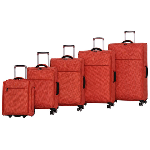it luggage Stitched Squares 8 Wheel Lightweight Expandable 5-Piece Set, Orange