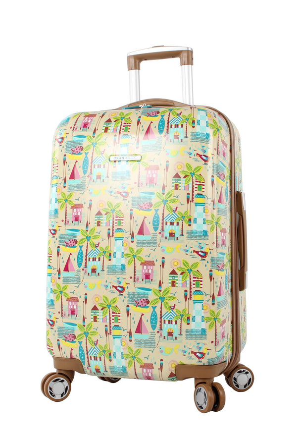 "Lily Bloom Hardside Luggage 24"" Design Pattern Spinner Suitcase For Woman (24in, Beach House)"