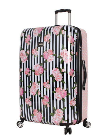Betsey Johnson 30 Inch Checked Luggage Collection - Expandable Scratch Resistant (ABS + PC) Hardside Suitcase - Designer Lightweight Bag with 8-Rolling Spinner Wheels (Stripe Roses)