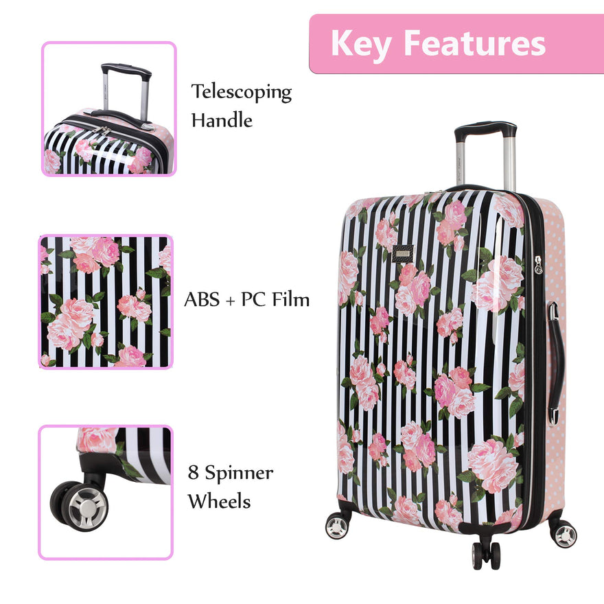 ABS + PC Expandable Scratch Resistant 30in, Stripe Roses Designer Lightweight Bag with 8-Rolling Spinner Wheels Hardside Suitcase Betsey Johnson 30 Inch Checked Luggage Collection