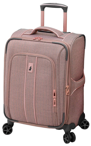 "London Fog Newcastle 20"" Spinner Carry-On, Rose Charcoal Herringbone"