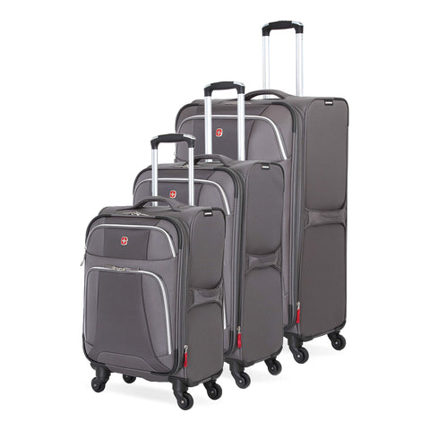 SWISSGEAR 7362 3-Piece Expandable Lightweight Rolling Spinner Luggage Set | Wheeled Travel Suitcases | 20-inch, 24-inch, 28-inch - Gray