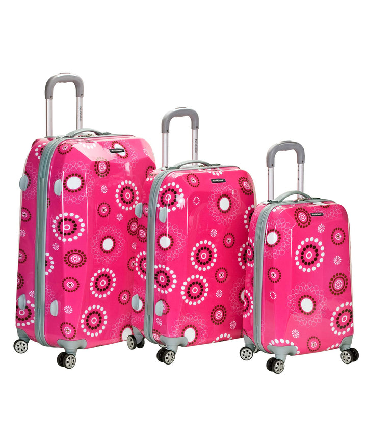 Rockland Luggage Vision Polycarbonate 3 Piece Luggage Set, Pink Pearl, One Size
