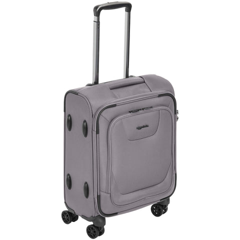 AmazonBasics Expandable Softside Carry-On Spinner Luggage Suitcase With TSA Lock And Wheels - 18 Inch, Grey