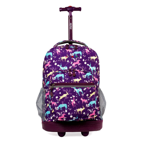 J World New York Sunrise 18-inch Rolling Backpack - Safari Purple Animal Polyester Adjustable Strap Lined Water Resistant
