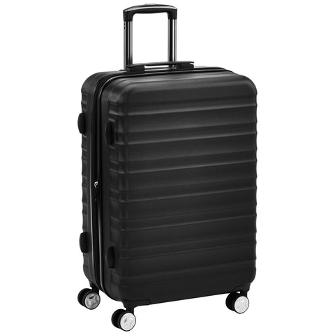 AmazonBasics Premium Luggage, Hardside Spinner Travel Suitcase with Wheels - Black