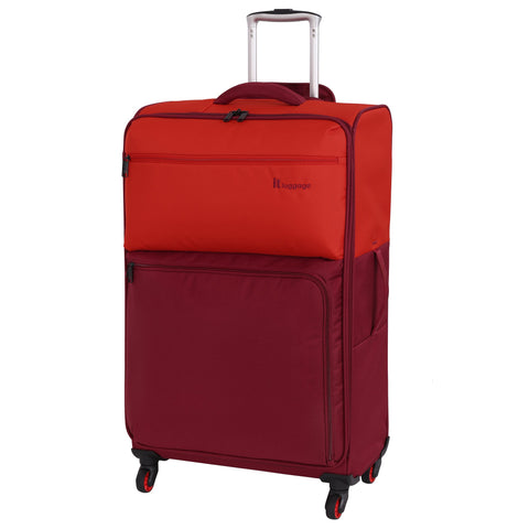 it luggage Duotone 4 Wheel Lightweight Large Suitcase, 78 cm, 86 L, Orange + Red Dahlia