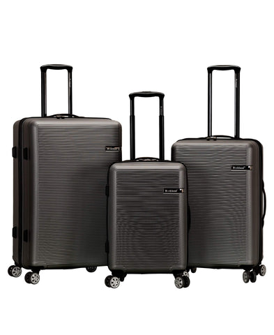 Rockland Skyline 3 Piece Abs Non-Expandable Luggage Set, Grey