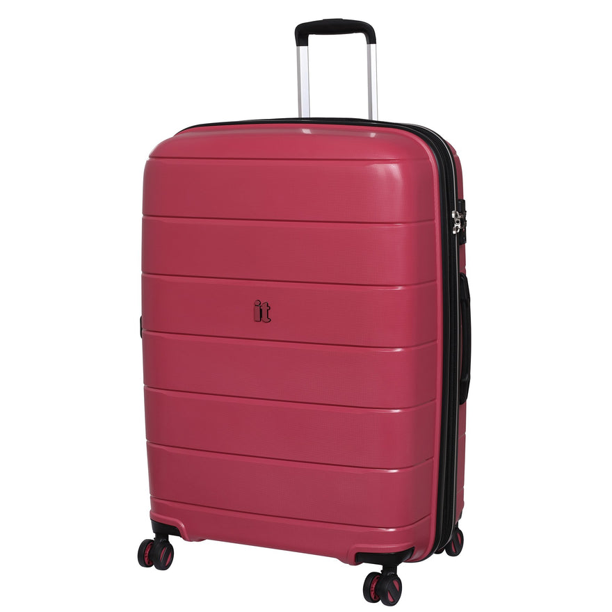 "IT Luggage 29.5"" Asteroid 8-Wheel Hardside Expandable Spinner, Rose Red"