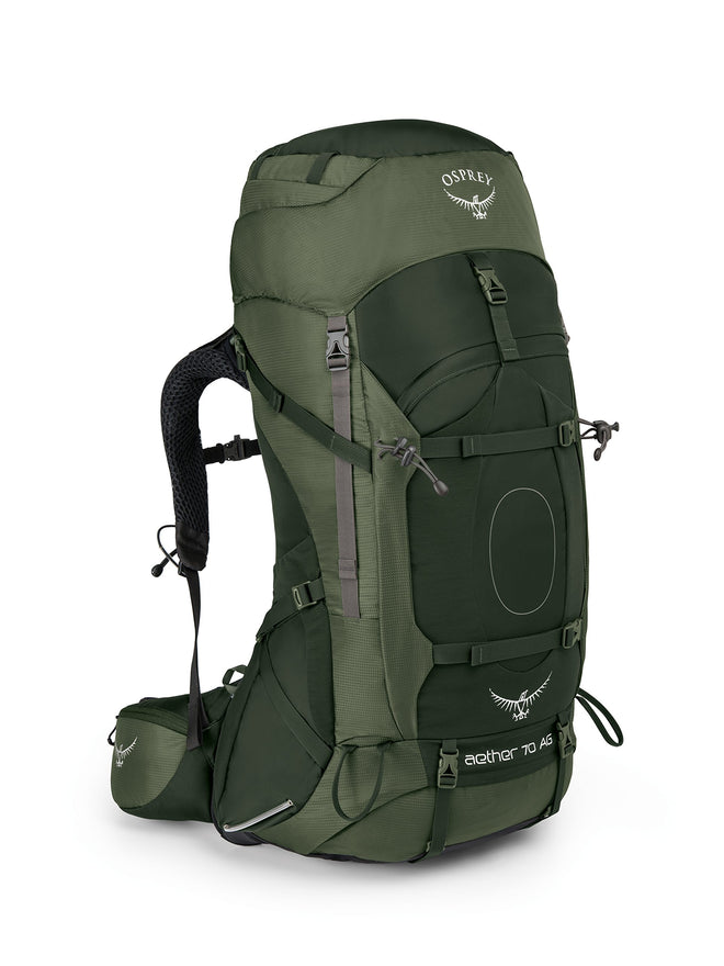Osprey Packs Aether Ag 70 Backpacking Pack, Adriondack Green,Large