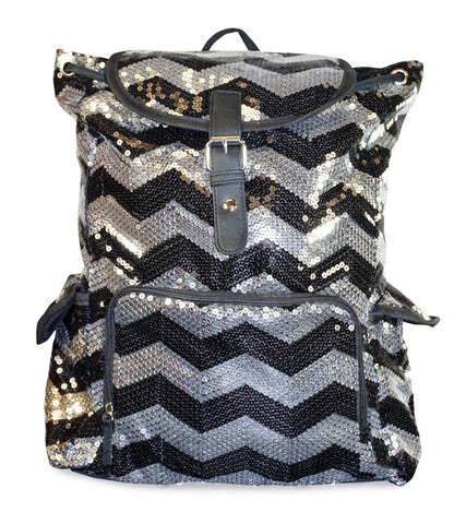 5Star-TD Chevron Backpack Zigzag Print Purse Sequined Book Bag Handbag