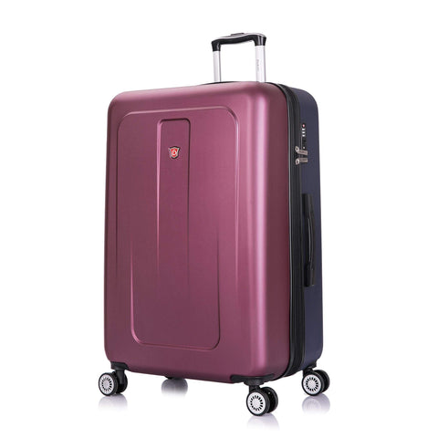DUKAP Luggage - Crypto Collection - Lightweight Hardside Spinner 28'' Inches - Two Tone (Wine/Blue) - Suitcases with Wheels