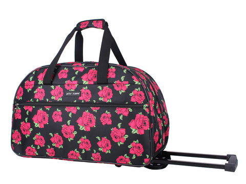 Betsey Johnson Luggage Designer Pattern Suitcase Wheeled Duffel Carry On Bag (Paris Love) (One Size, Covered Roses)