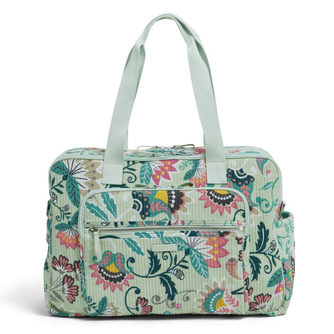 Vera Bradley Signature Cotton Deluxe Weekender, Mint Flowers