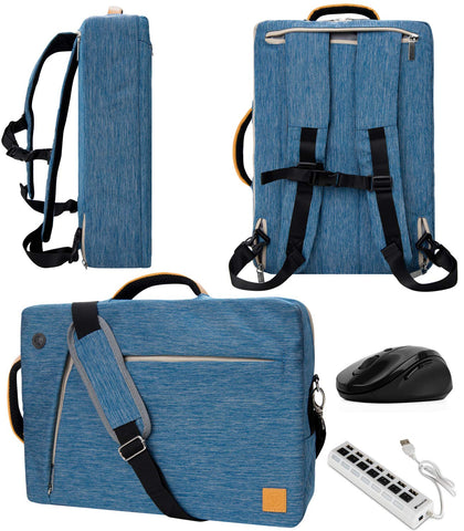 "Blue 10"" to 12-inch Convertible Laptop Bag, Mouse, USB HUb for HP EliteBook, Pro Slate 12, Elite X2, Spectre, Pavilion"