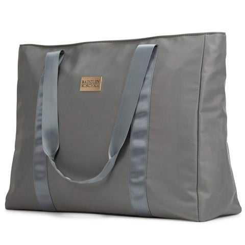 BADGLEY MISCHKA Nylon Travel Tote Weekender Bag - Lightweight Packable Travel Bag (Grey)